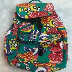 Vintage Fish Patterned Backpack